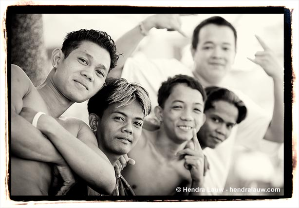 Young men at the Manila North Cemetery