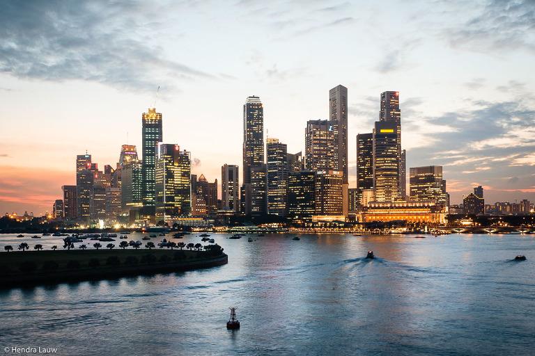 Singapore skyline in Marina Bay in 2005